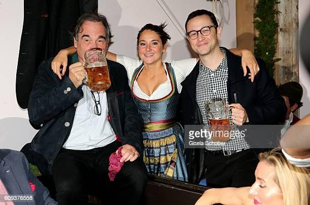 Director Oliver Stone Shailene Woodley and Joseph GordonLevitt cast Snowden during the Oktoberfest at Kaeferschaenke at Theresienwiese on September...