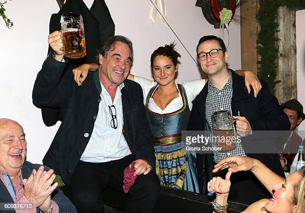 Director Oliver Stone Shailene Woodley and Joseph GordonLevitt cast Snowden during the Oktoberfest at Kaeferschaenke at Theresienwiese on September...