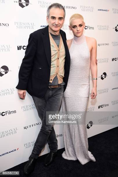 Director Olivier Assayas and actress Kristen Stewart attend the Personal Shopper premiere at Metrograph on March 9 2017 in New York City