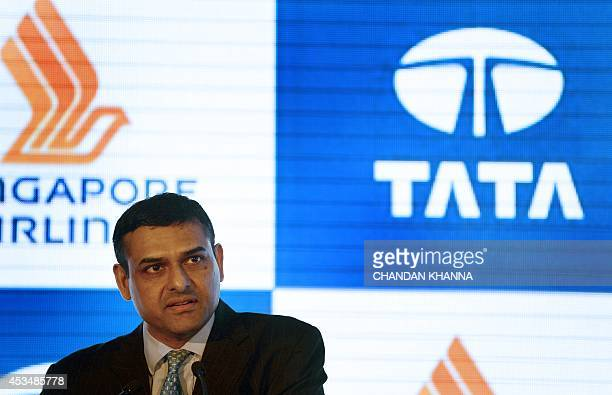 Director on the Board of TATA SIA Airlines Limited Mukund Rajan speaks at the press conference during the launch of the new brand name 'Vistara'...