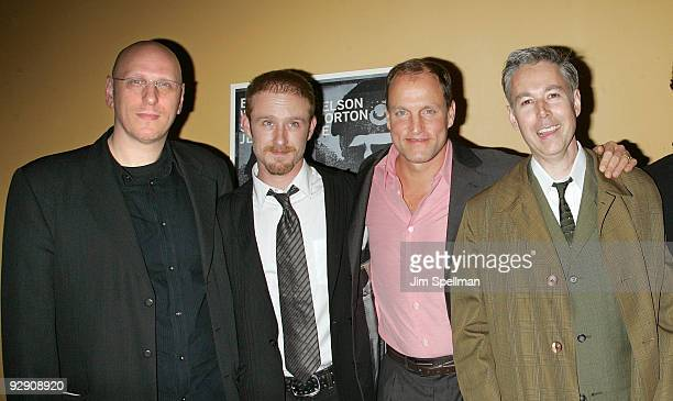 Director Oren Moverman Actors Ben Foster Woody Harrelson and Musician Adam Yauch attend The Messenger Premiere at Clearview Chelsea Cinemas on...