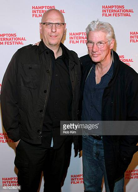 Director Oren Moverman and Richard Gere attend the Time Out of Mind premiere during the 2014 Hamptons International Film Festival on October 10 2014...