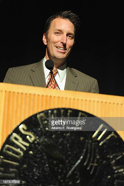 Director Oscar Bucher arrives at the International Documentary Association's 26th annual awards ceremony at the Directors Guild Of America on...