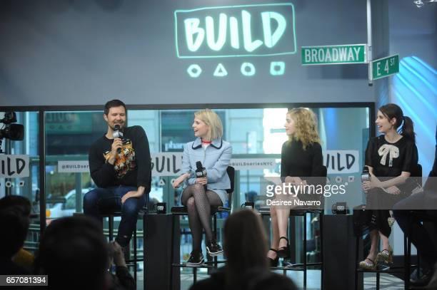 Director Osgood Perkins actors Lucy Boynton Kiernan Shipka and Emma Roberts attend Build Series to discuss 'The Blackcoat's Daughter' at Build Studio...