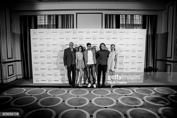 Director Pablo Buscarini Tini Jorge Blanco Adrian Salzedo and Mercedes Lambre attend 'Tini el gran cambio de Violetta' at Palace Hotel on April 27...