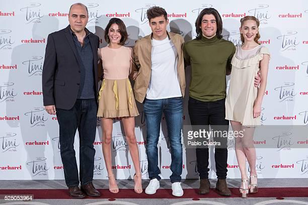 Director Pablo Buscarini Tini Jorge Blanco Adrian Salzedo and Mercedes Lambre attends 'Tini el gran cambio de Violetta' at Palace Hotel on April 27...