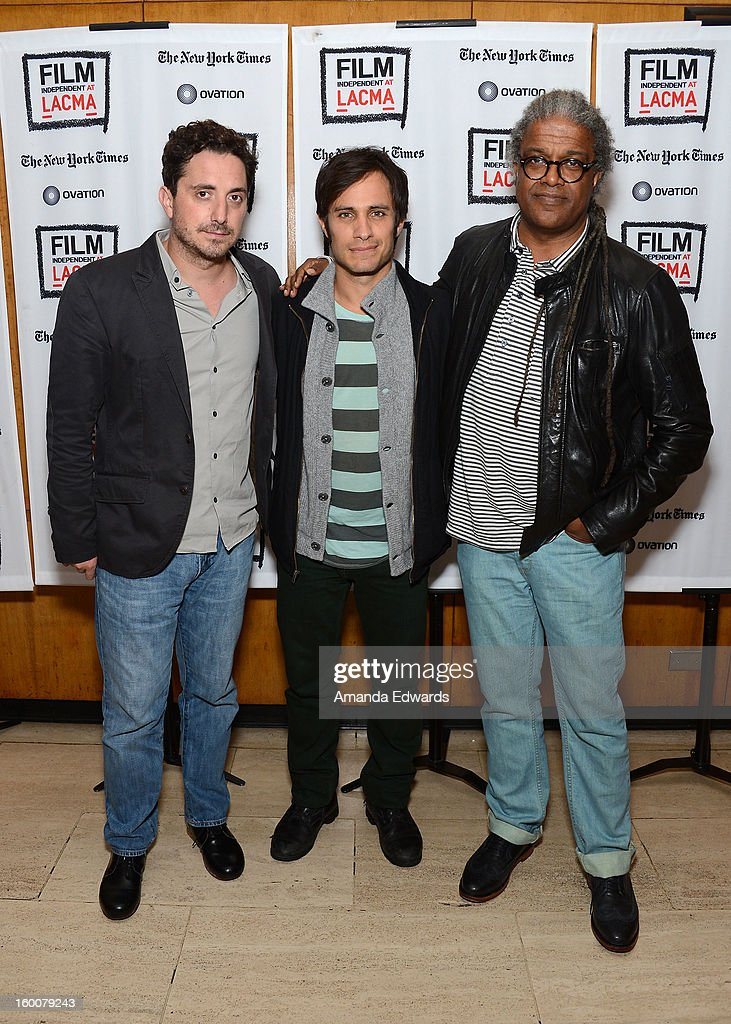 Director Pablo Larrain, actor Gael Garcia Bernal and film curator Elvis Mitchell attend the Film Independent At LACMA free screening of 'No' co-presented by The New York Times Film Club at the Bing Theatre At LACMA on January 25, 2013 in Los Angeles, California.
