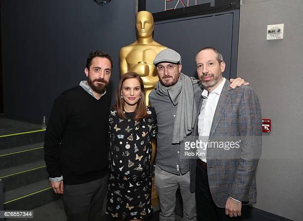 Director Pablo Larrain actress Natalie Portman producer Darren Aronofsky and writer Noah Oppenheim attend a panel discussion following the Official...