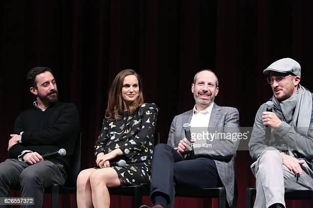 Director Pablo Larrain actress Natalie Portman writer Noah Oppenheim and producer Darren Aronofsky attend a panel discussion following the Official...