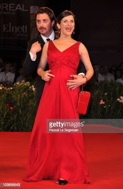 Director Pablo Larrain and actress Antonia Zegers attends the Post Mortem premiere during the 67th Venice Film Festival at the Sala Grande Palazzo...