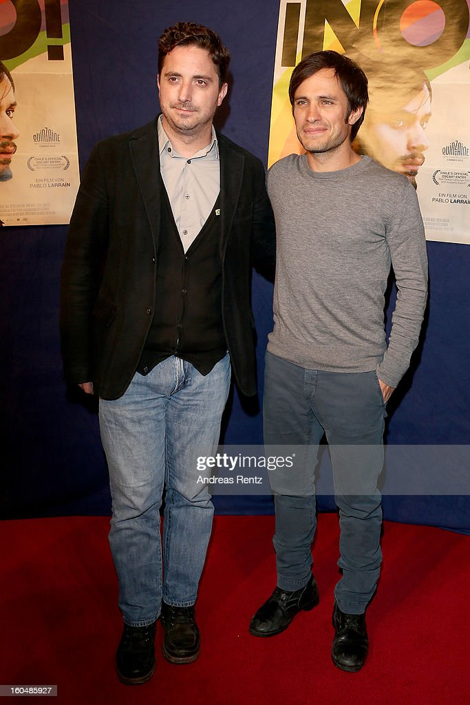 Director Pablo Larrain and Gael Garcia Bernal attend 'NO!' Germany Premiere at Filmtheater am Friedrichshain on February 1, 2013 in Berlin, Germany.