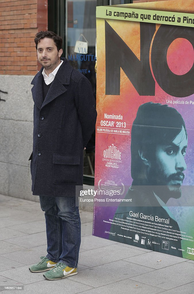 Director Pablo Larrain attends 'NO' photocall at Golem Cinemas on February 7, 2013 in Madrid, Spain.