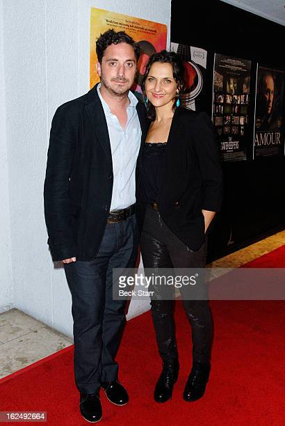 Director Pablo Larra'n and actress Antonia Zegers arrive at the Sony Pictures Classics PreOscar Dinner at The London Hotel on February 23 2013 in...