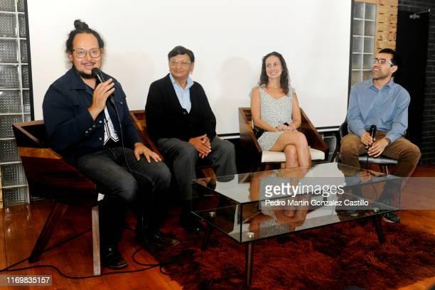 Director Pablo Mondragón composer Franco Legarreta actor Andrea Barbier and director/screenwriter Gabriel Reyes speak during the premiere of the film...