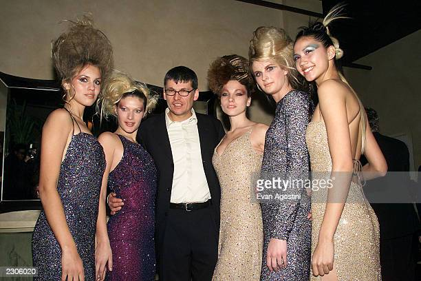 Director Paddy Breathnach poses with bevy of beauty salon babes at Miramax Films' 'Blow Dry' screening afterparty at the WarrenTricomi Salon in New...