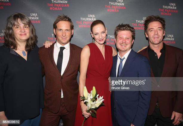 Director Pam MacKinnon Josh Lucas Uma Thurman Playwright Beau Willimon and Marton Csokas pose at The Opening Night Party for 'The Parisian Woman' on...