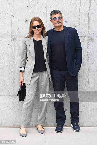 Director Paolo Genovese and his wife Federica Rizzo attend the Giorgio Armani show during Milan Men's Fashion Week SS17 on June 21 2016 in Milan Italy