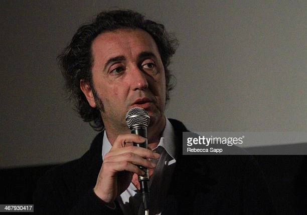Director Paolo Sorrentino speaks at a screening of 'The Great Beauty' at the Metro at the 29th Santa Barbara International Film Festival on February...