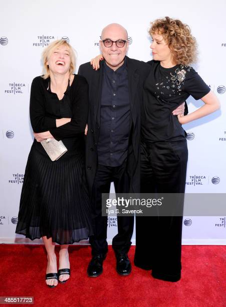 Director Paolo Virz and actors Valeria Bruni Tedeschi and Valeria Golino attends the Human Capital Premiere during the 2014 Tribeca Film Festival at...