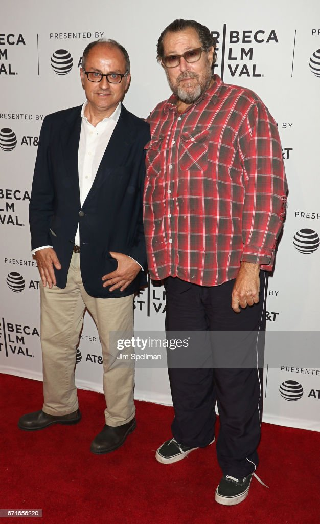Director Pappi Corsicato and artist/filmmaker Julian Schnabel attend the 'Julian Schnabel: A Private Portrait' screening during the 2017 Tribeca Film Festival at SVA Theatre on April 28, 2017 in New York City.