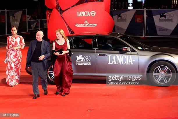 Director Pascal Bonitzer with actresses Kristin Scott Thomas and Isabelle Carre attend the 'Cherchez Hortense' premiere during the 69th Venice Film...