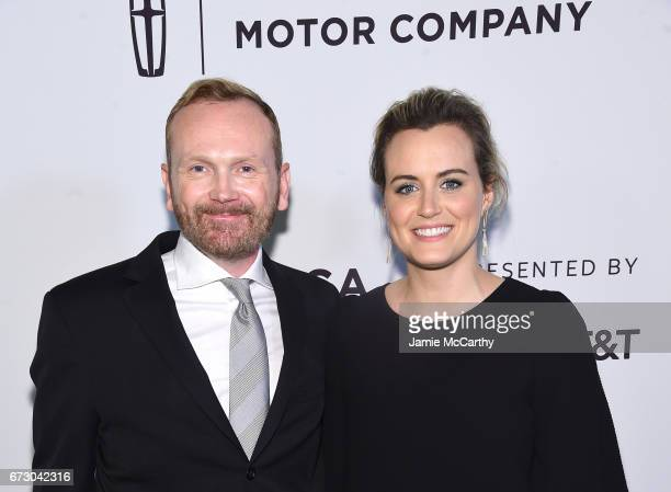 Director Pat Healy and actress Taylor Schilling attend 'Take Me' Premiere during the 2017 Tribeca Film Festival at SVA Theater on April 25 2017 in...