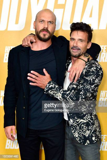 """Director Patrick Hughes and Frank Grillo attend the """"Hitman's Wife's Bodyguard"""" special screening at Crosby Street Hotel on June 14, 2021 in New York..."""