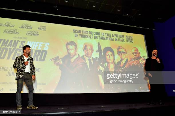 """Director Patrick Hughes and Frank Grillo speak onstage during the """"Hitman's Wife's Bodyguard"""" special screening at Crosby Street Hotel on June 14,..."""