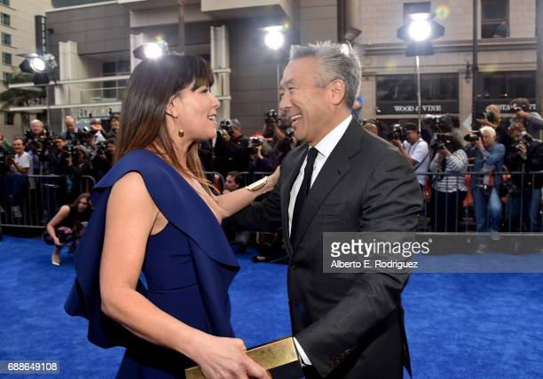 Director Patty Jenkins and Kevin Tsujihara Chairman and CEO of Warner Bros attend the premiere of Warner Bros Pictures' Wonder Woman at the Pantages...