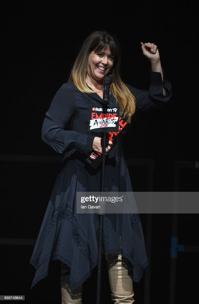 Director Patty Jenkins, winner of the award for Best Sci-Fi/ Fantasy for 'Wonder Woman', on stage during the Rakuten TV EMPIRE Awards 2018 at The Roundhouse on March 18, 2018 in London, England.