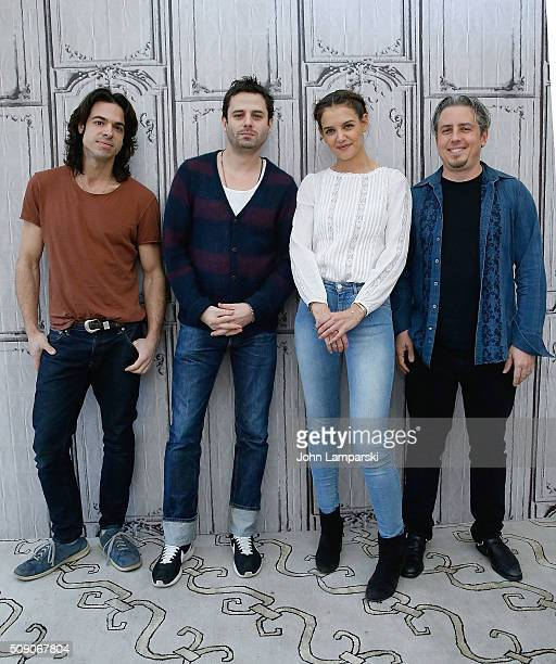 Director Paul Dalio Luke Kirby Katie Holmes and producer Jeremy Alter of Touched with Fire attend AOL Build Speaker Series at AOL Studios In New York...
