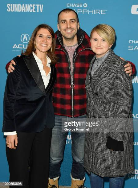 Director Paul Downs Colaizzo poses with film inspiration Brittany O'Neill and actor Jillian Bell at the Brittany Runs A Marathon Premiere during the...