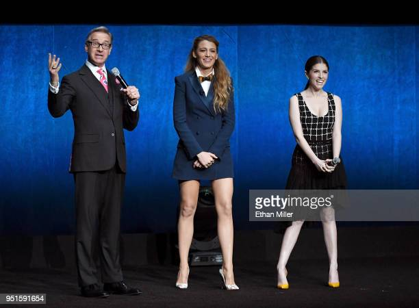 Director Paul Feig actors Blake Lively and Anna Kendrick speak onstage during CinemaCon 2018 Lionsgate Invites You to An Exclusive Presentation...