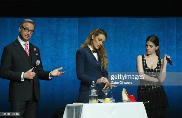 Director Paul Feig actresses Blake Lively and Anna Kendrick perform a skit during CinemaCon 2018 Lionsgate Invites You to An Exclusive Presentation...