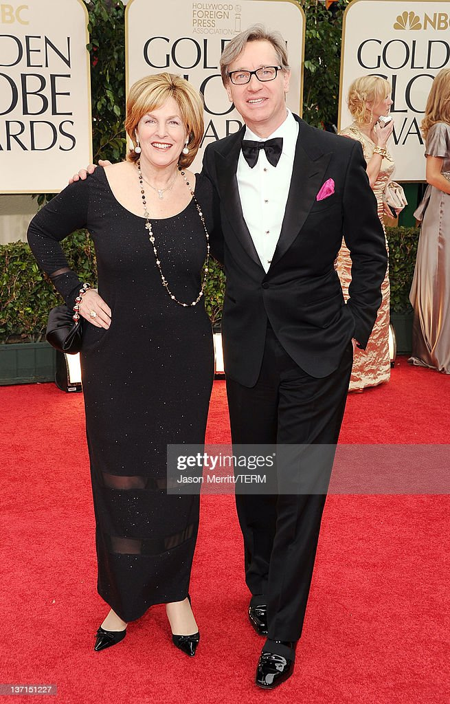Director Paul Feig (R) and guest arrive at the 69th Annual Golden Globe Awards held at the Beverly Hilton Hotel on January 15, 2012 in Beverly Hills, California.