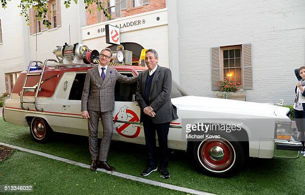 """Director Paul Feig and producer Ivan Reitman attend the """"Ghostbusters"""" Fan Event Photo Call at Sony Pictures Studios on March 2, 2016 in Culver City,..."""