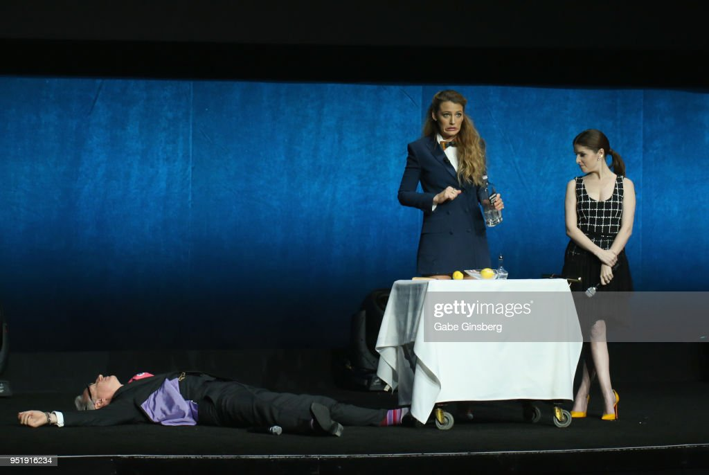 Director Paul Feig lays on the ground during a skit with actresses Blake Lively and Anna Kendrick during CinemaCon 2018 Lionsgate Invites You to An Exclusive Presentation Highlighting Its 2018 Summer and Beyond at The Colosseum at Caesars Palace during CinemaCon, the official convention of the National Association of Theatre Owners, on April 26, 2018 in Las Vegas, Nevada.