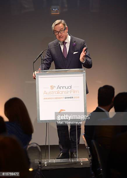 Director Paul Feig speaks onstage during Australians In Film's 5th Annual Awards Gala at NeueHouse Hollywood on October 19 2016 in Los Angeles...