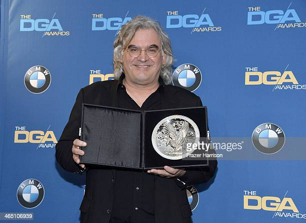 """Director Paul Greengrass recipient of the Feature Film Nomination Plaque for """"Captain Phillips poses in the press room during the 66th Annual..."""