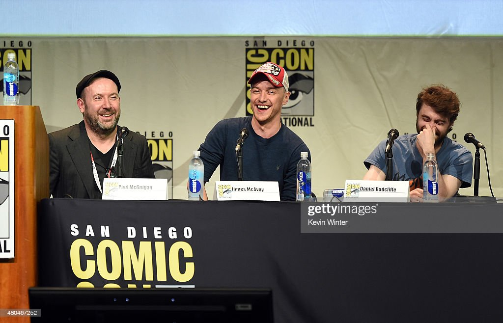 Director Paul McGuigan, actors James McAvoy and Daniel Radcliffe from 'Victor Frankenstein' appear onstage at the 20th Century FOX panel during Comic-Con International 2015 at the San Diego Convention Center on July 11, 2015 in San Diego, California.