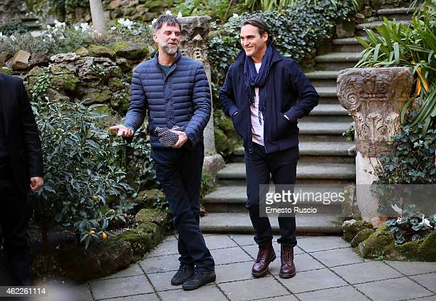 Director Paul Thomas Anderson and actor Joaquin Phoenix attend the 'Vizio Di Forma Inherent Vice' at Hotel De Russie on January 26 2015 in Rome Italy