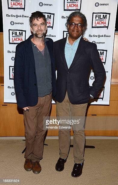 Director Paul Thomas Anderson and Film Independent at LACMA Film Curator Elvis Mitchell attend the Film Independent At LACMA An Evening With Paul...