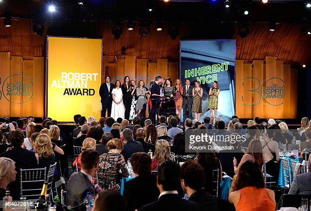 Director Paul Thomas Anderson casting director Cassandra Kulukundis with cast and crew of 'Inherent Vice' accept the Robert Altman Award for...