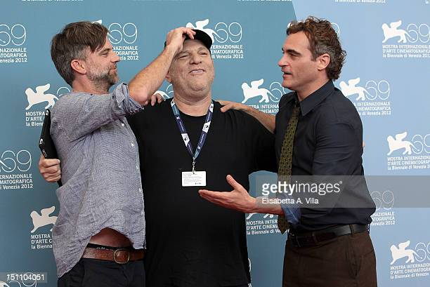 Director Paul Thomas Anderson producer Harvey Weinstein and actor Joaquin Phoenix attend 'The Master' Photocall during the 69th Venice Film Festival...