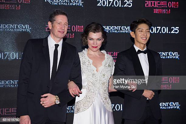 Director Paul W S Anderson actors Milla Jovovich and Lee JunKi attend the Seoul premiere for 'Resident Evil The Final Chapter' on January 13 2017 in...