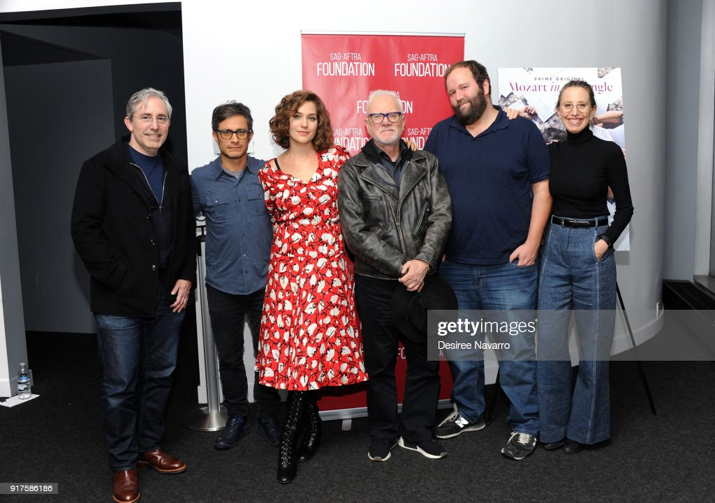 Director Paul Weitz, actors Gael Garcia Bernal, Lola Kirke, Malcom McDowell, showrunner Will Graham and executive producer Caroline Baron attend SAG-AFTRA Foundation Conversations: 'Mozart In The Jungle' at The Robin Williams Center on February 12, 2018 in New York City.