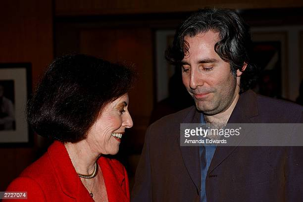Director Paul Weitz chats with his mother actress Susan Kohner at the Jack Oakie Lecture on Comedy in Film featuring Paul and Chris Weitz at the...