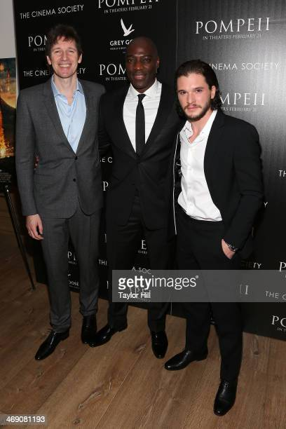 Director Paul WS Anderson actor Adewale AkinnuoyeAgbaje and actor Kit Harington attend the Pompeii screening hosted by TriStar Pictures with the...