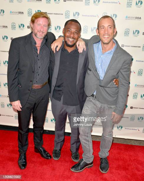 Director Paxton Winters Maga Wellington and Joe Carter from short film 'Pacified' are seen during 37th Annual Miami Film Festival presented by Miami...