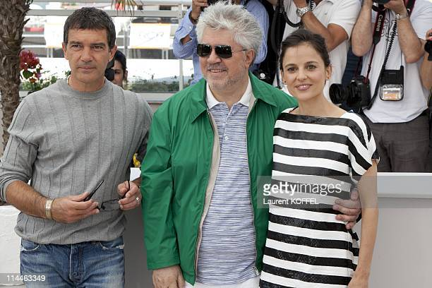Director Pedro Almodovar actor Antonio Banderas and actress Elena Anaya attend 'The Skin I Live In' Photocall at Palais des Festivals during the 64th...